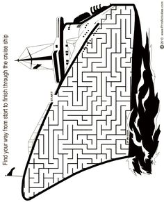 Cruise ship shaped maze from PrintActivities.com