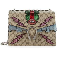 Gucci Dionysus Gg Supreme Embroidered Bag as seen on Rosie Huntington-Whiteley Beige Shoulder Bags, Shoulder Strap Bag, Gucci Shoulder Bag, Canvas Shoulder Bag, Shoulder Handbags, Canvas Purse, Canvas Handbags, Embroidered Bag, Brown Purses