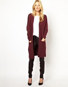 Image 1 of Selected Distelle Longline Knitted Cardigan in Oversized Fit
