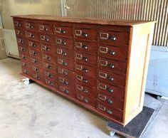 Ancien meuble de m tier banque double de quincaillerie fin for Meuble bureau notaire