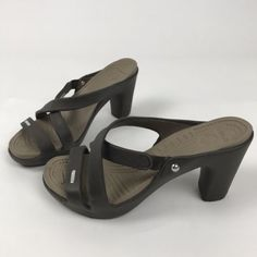 17b5f099256c Crocs Sandals Women s 8 Cyprus High Heel Strappy Mules Brown