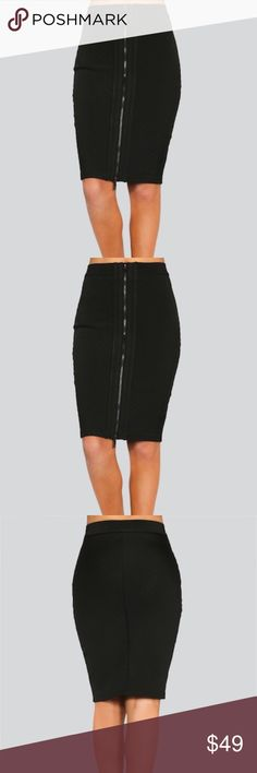 WOW Couture Zipper Front Milano Bandage Skirt -BLK Wow Couture's Lexi zipper front milano bandage skirt is an edgy update to a classic favorite. Black luxe knit pencil skirt with front functioning silver zipper. Diagonal milano stitching flatters any figure and provides a curvy fit. Sits at the slimmest part of the waist . Comes to knee. Polyester Blend. Imported.    All Sales On Poshmark are Final Sale. This item is NWT. It has been throughly inspected for its quality. No trades. No Low…