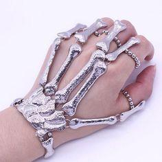 Silver Punk Gothic Talon Skeleton Skull Bone Hand Finger Ring Slave Bracelet NEW in Jewellery & Watches, Costume Jewellery, Bracelets | eBay!