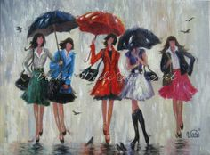 Five Rain Girls Art Print, fashion girls, rain, umbrellas, five sisters, five ladies in rain art, singing in the rain, Vickie Wade Art on Etsy, $30.00