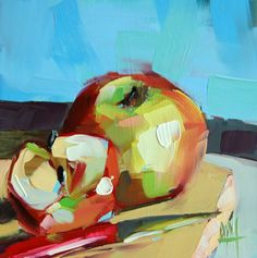 Apples no. 10 original still life fruit oil painting by Angela Moulton 6 x 6 inch on panel prattcreekart ship date March 15 Apple Painting, Fruit Painting, Painting & Drawing, Still Life Fruit, Apple Art, Impressionist Art, Painting Still Life, Fruit Art, Painting Inspiration