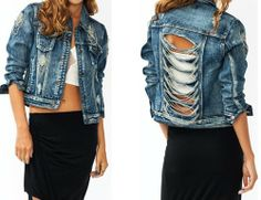 distressed slashed back with draped chain long sleeve denim jean jacket 10068JK
