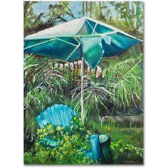 Trademark Fine Art Chair Umbrella Garden Canvas Art by Judy Harris, Size: 18 x 24, Multicolor