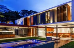 Interior Design Wonderful Planalto House Back Yard Lighting At Night Architecture Decoration Blue And Gold Effects To Combine Architecture Decoration Wood And Greens Touches Exquisite Modern House In Contemporary Interior Design