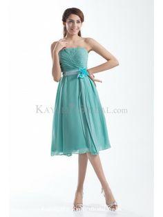 Chiffon Strapless Knee Length A-line Hand-made Flower Cocktail Dress