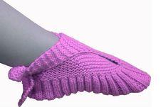 Patron en Español Zapatillas Anudadas en el Tobillo tejidas en dos agujas Pantuflas Chanclas Chancletas Chinelas Zapato de Casa
