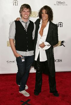 Joe Perry with his son Tony Perry at the Conde Nast Media Group's Fourth Annual Fashion Rocks Concert at Radio City Music Hall in New York C...