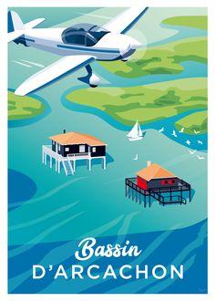 Affiche Bassin d'Arcachon, les Cabanes Tchanquées