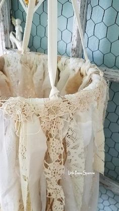 Enthralling shabby chic decor examples and snug cool tips. Please Check this post styling number 3205156173 immediately now. Shabby Chic Crafts, Shabby Chic Decor, Fabric Chandelier, Cottage Nursery, French Country Christmas, Fabric Wreath, Wedding Props, Dream Catcher Boho, Dreamcatchers