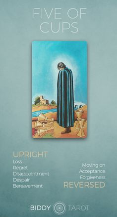 Detailed Tarot card meaning for the Five of Cups including upright and reversed card meanings. Access the Biddy Tarot Card Meanings database - an extensive Tarot resource. What Are Tarot Cards, Tarot Significado, Tarot Astrology, Astrology Numerology, Tarot Card Meanings, Tarot Spreads, Tarot Readers, Oracle Cards, Card Reading
