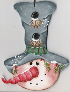 Tall Blue Hat Snowman Ornament by CountryCharmers on Etsy. $7.50, via Etsy.
