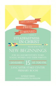 2016 Young Women's New Beginnings ideas, invite and program