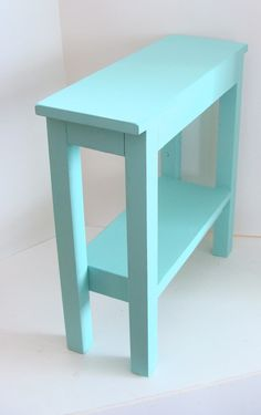 Narrow Side Table Painted Furniture End Table Wood Table Aqua Blue Beach Cottage…