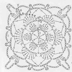 Large granny fancy square crochet chart