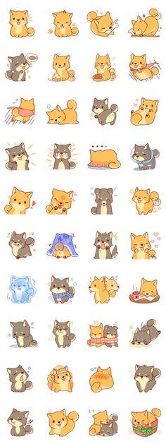 It is a Sticker of Japanese Shiba inu #corgi, #corgidawing