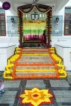 12 Types of Flower Rangoli Designs for different areas Wedding Room Decorations, Diwali Decorations At Home, Housewarming Decorations, Desi Wedding Decor, Engagement Decorations, Flower Decorations, Marriage Decoration, Wedding Mandap, House Decorations