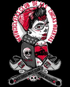 Rockabilly Pin Up Tattoo Flash Day of the Dead Girl Biker Outlaw Motorcycle Punk Rock Steampunk Gothic Art Print Sugar Skull. Flash Art Tattoos, Pin Up Tattoos, Print Tattoos, Tattoo Drawings, Rockabilly Pin Up, Art Et Illustration, Illustrations, Pin Up Girls, Bad Girls