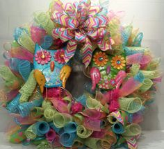 Summer Owl Deco Mesh Wreath by SouthernAccentsEtc on Etsy, $85.00