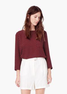 Blusa fluida estampada - Camisas de Mulher   MANGO