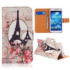 Eiffeltoren en bloemen bookcase voor Samsung Galaxy S4