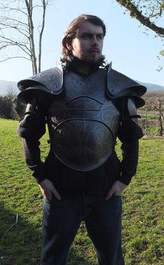 Larp armor Fantasy Citadel chest armor and pauldrons. Larp Armor, Cosplay Armor, Pauldron, High Fantasy, Fantasy Inspiration, Dark Ages, Skyrim, Lotr, Put On