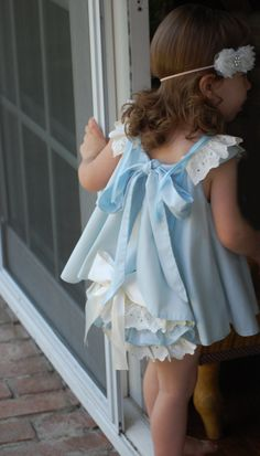 Girls Babies Toddler Dress & Ruffled Bloomers Baby Blue and Ivory 2 pc 2T thru 4T. $70.00, via Etsy.