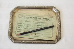 Antique french desk tray, trinket tray. Octogonal metal decorative plate