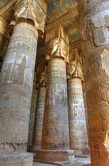Temple of Hathor Dendara, Egypt. Incredibly detailed painting and carving. I would love to see this in person. Ancient Egyptian Architecture, Ancient Egyptian Art, Ancient Ruins, Ancient History, Art History, Egyptian Temple, Art Ancien, Ancient Civilizations, Archaeology