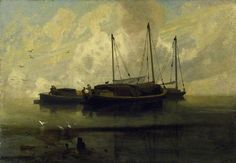ca. 1810 Boats at Anchor on Breydon Water oil on canvas