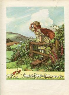 Little Bo Peep and See Saw nursery rhymes vintage 1940s Margaret Tarrant print | eBay