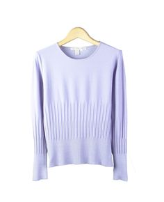 Silk/Cotton/Lycra Jewel Neck Long Sleeve Sweater w/ Variegated Rib Designlarge picture