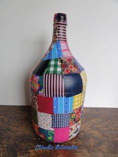 garrafas decoradas com patchwork - Pesquisa Google