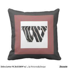 Zebra Letter W, Bold B&W w/ Cranberry, B&W Chevron Pillow
