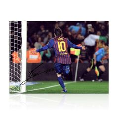 Lionel Messi Signed Photograph: Record Goalscorer by exclusivememorabilia.com. $224.99. This fantastic 16 inch by 12 inch photograph was signed by Leo Messi in a private signing session carried out by Exclusive Memorabilia on May 15, 2012 in Barcelona. It shows Messi wheeling away in celebration after becoming Barcelona's all-time leading goalscorer. Aged just 24, Messi had just hit his 233rd goal for the Catalans, breaking César Rodríguez's record of 232, which...