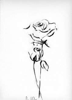 Original Drawing - Black and White Ink Brush Pen Drawing - Roses, Flowers - Modern Wall Art - Minimalist