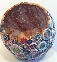 THE EGG - Coiled recycled magazine paper sculpture with paper mache interior
