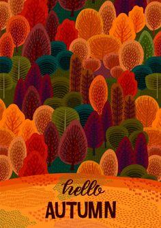 Autumn season with autumn forest Premium Vector Autumn Forest, Autumn Art, Autumn Leaves, Autumn Flowers, Autumn Cozy, Autumn Painting, Autumn Style, Autumn Trees, Fall Wallpaper