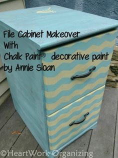 A Fun Chevron File Cabinet with Provence & Versailles Chalk Paint® decorative paint by Annie Sloan | By Darla of HeartWork Organizing