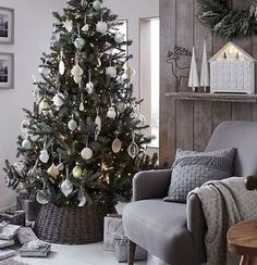 Buy John Lewis Helsinki Silver Forest Spruce Christmas Tree from our Christmas Trees range at John Lewis & Partners. Scandinavian Christmas Trees, Spruce Christmas Tree, Christmas Home, White Christmas, Wicker Christmas Tree Skirt, Silver Christmas Tree, Cottage Christmas, Christmas Design, Country Christmas