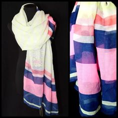 "B151 Colorful Neon Stripe Pink Yellow White Scarf ‼️PRICE FIRM‼️   Neon Stripe Scarf  Retail $44  100% polyester. 34"" wide, 76"" long.  Please check my closet for many more items!! Boutique Accessories Scarves & Wraps"