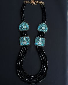 4 strand necklace with bead-embroidered panels w/labradorite & turquoise cabochons by Faria Siddiqui