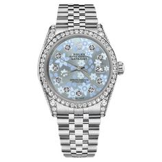 Pre-owned Rolex Datejust Stainless Steel Ice Blue Flower Dial with... ($5,998) ❤ liked on Polyvore featuring jewelry, watches, pre owned watches, blue dial watches, pre owned fine jewelry, fine jewelry and flower watches