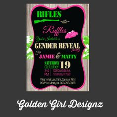 DIY Printable Rifles or Ruffles Gender Reveal Party Invitation Wear what you think, camo or pink!