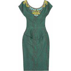 Matthew Williamson Embellished cotton-blend peplum dress ❤ liked on Polyvore