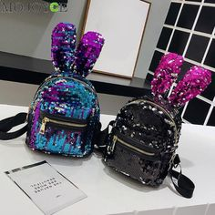 Mini Shining Sequins Backpack Cute Rabbit Ear School Bags for Baby Girls  Shoulder Bag Women Baby Girls Backpack Travel Rucksacks 09dc67841f