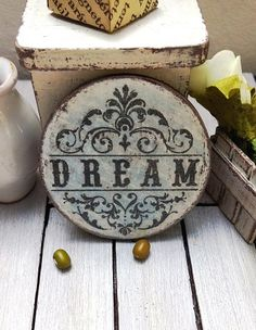 Dollhouse miniature bedroom picture / plaque by DewdropMinis Bedroom Pictures, Dollhouse Accessories, Made Of Wood, Hand Stamped, Dollhouse Miniatures, Wall Art Decor, Bedroom Decor, Handmade, Signs